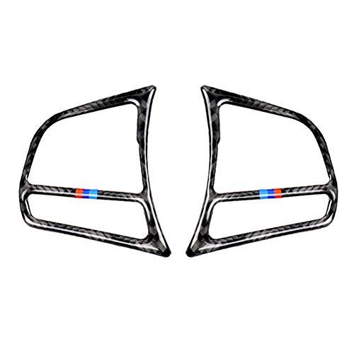 QQSGBD Accesorios de Fibra de Carbono 2pcs Set de la Cubierta del Marco del botón del Volante del automóvil Interior de Fibra de Carbono para BMW F20 F21 F30 F32 F34 (Color Name : Tricolor)