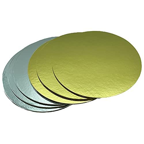 Juego de bases de tartas doradas y plateadas de cartón de 3 mm de grosor en varias cantidades para servir, transportar y apilar tartas y pasteles