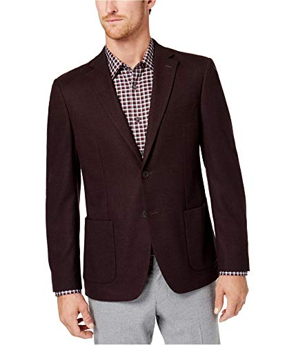 Michael Kors Mens Stretch Two Button Blazer Jacket, Red, 48 Long