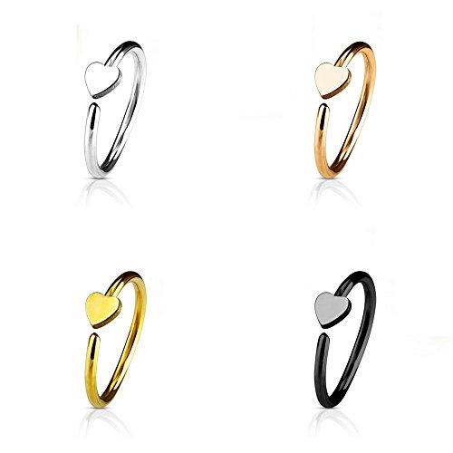 Trend Agent Premium Nasenstecker   Nasenpiercing   Nasenring   Ohrpiercing   Fake Hoop Ring   4er Set mit Herz Motiv   Auch als Fake Piercing   8.0 mm x 0.8 mm   Gold   Rosé   Schwarz   Silber