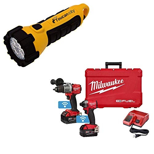 Toucan City LED Flashlight and Milwaukee M18 FUEL ONE-KEY 18-Volt Lithium-Ion Brushless Cordless Hammer Drill/Impact Driver Combo Kit Two 5.0 Ah Batteries Case 2996-22