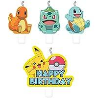 Amscan International 10026059 Pokemon - Juego de 4 velas de Pokémon