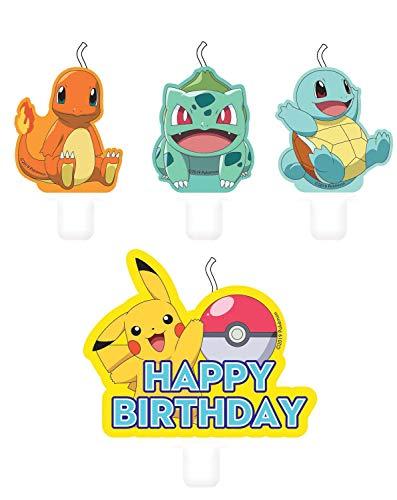 Amscan 9904828 - Mini Figurenkerzen Pokemon Happy Birthday, 4 Stück, Kuchenkerzen