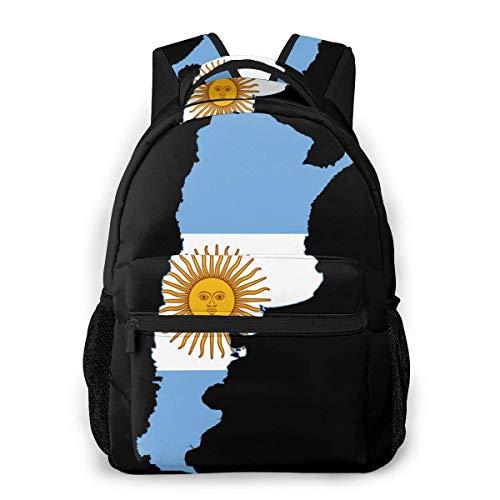 Mapa de La Bandera de Argentina Imprimir Mochila Informal Única Personalizada Mochila Escolar Viaje Mochila Regalo