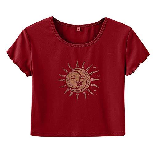 Xmiral T-Shirt Donna Fashion Sun Moon Print Navel Short Sleeve Round Neck Top ( XL,2Vino )
