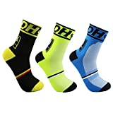 Men's Cycling Socks Unisex Breathable Sports Running Trekking Socks (3 Pairs(black+green+blue))