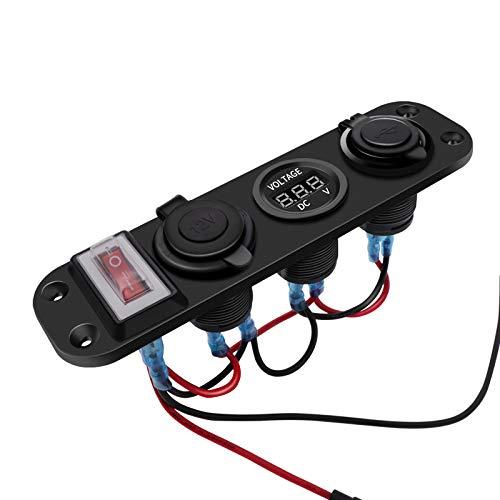 KAOLALI Panel de Enchufes 4 en 1 con Doble Cargador USB y Voltímetro de LED y Encendedor de Cigarrillos y Rojo Interruptor