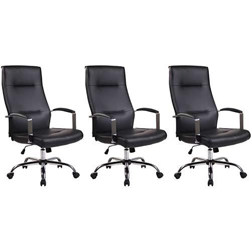 Lüllmann Portland - Silla de oficina giratoria (3 unidades, piel sintética), color negro