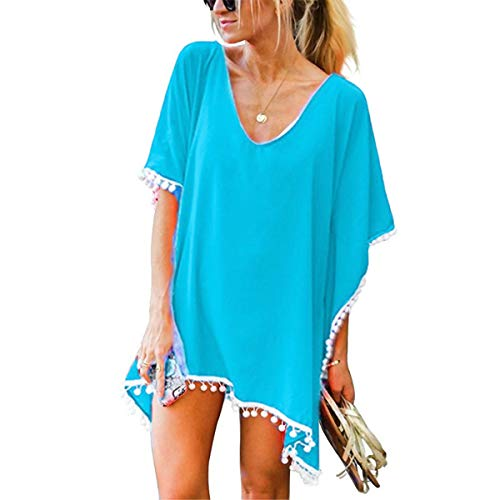 ECOMBOS Damen Strandkleid - Bikini Cover Up Strandponcho Chiffon Sommerkleid Sommer Bademode Blumenkleid Boho Kleid Tunika Strand Pareo mit Quasten (Hellblau)