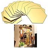 12 adesivi da parete a specchio in acrilico 3D per piastrelle da parete per decorare casa, soggiorno, camera da letto, divano (oro, 40 x 34 x 20 mm)