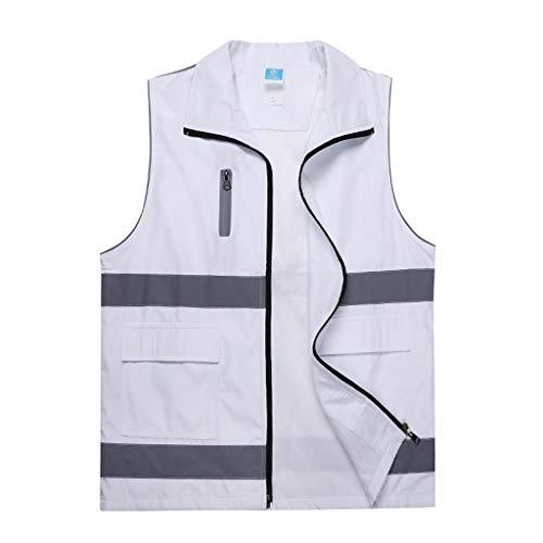 J+N JN veiligheidsvest, comfortabel en ademend, voor werkkleding, veiligheidsvest, nachttocht, veiligheid op de bouw, neutraal wit vest