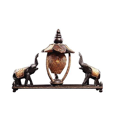 BeiMi Vintage Tischlampe - minimalistisches Design aus Holz Elefant Tischlampe handgewebte Bambus Vorhang Teak Lampe Körper Wohnzimmer Schlafzimmer Arbeitszimmer Büro (43 * 34cm)