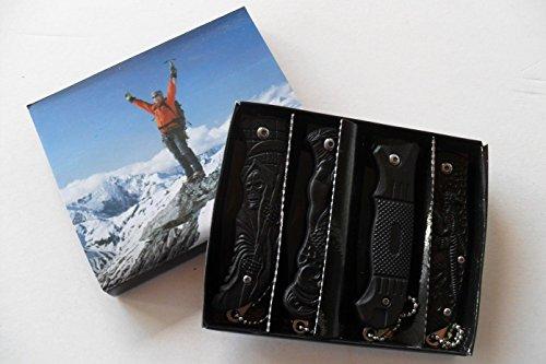 CP-PC-025-4 Couteaux Pliants de Poche Lame Acier 6,5 cm Manche Résine Gravé 8,5 cm Canif
