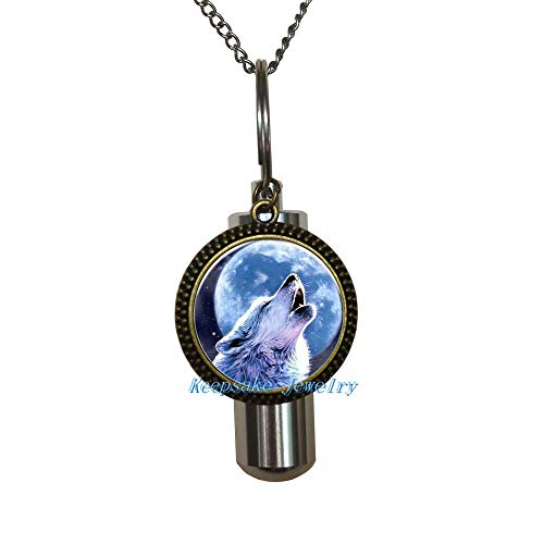 HOWLING WOLF MOON Cremation Necklace Jewelry - Cremais Jewelry-Stainless Steel Urn HOWLING WOLF MOON Cremation Necklace-Remembrance Necklace-Sympathy-Urn for Ashes