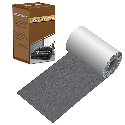 Leather Repair Tape 3X60 inch Patch Leather Adhesive for Sofas, Car Seats, Handbags, Jackets,First Aid Patch (Gray)