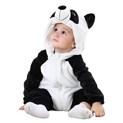 COOKY.D - Mono de invierno para bebé (0-24 meses) panda 80 cm (6-12 meses)