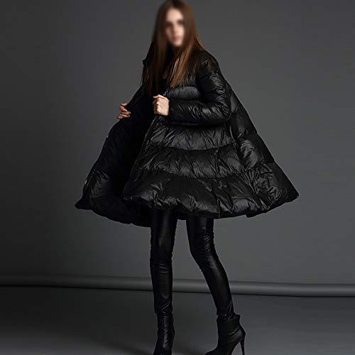 LK-HOME Dames Down Jassen Winddichte waterdichte jas Persoonlijkheid losse dames donsjack lange jas Winter Fashion Trend Wild Jas Mode Een slinger ontwerp kraag mantel dameskleding