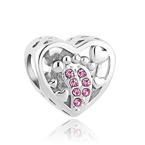 Korliya Baby Footprints Charm Heart Birthstone Bead For European Snake Chain Bracelet (Pink)