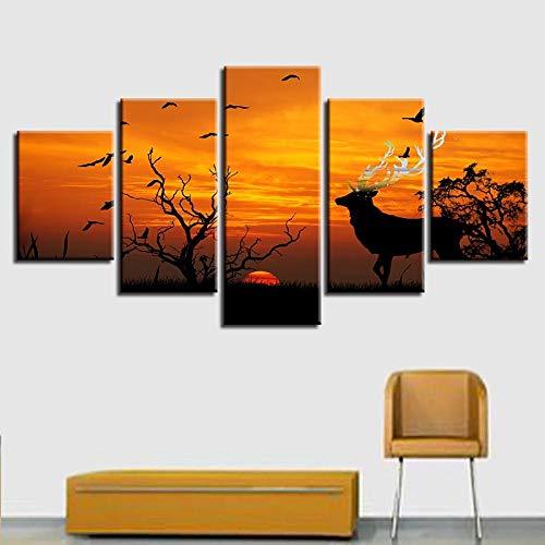 BXZGDJY Cartoon afbeelding muurkunst canvas schilderij 5 panelen cartoon film, dat langzaam karakter vliegende draak poster penseel huis decoratie 200 x 100 cm afbeelding afbeeldingen op canvas 5-delig poster voor H A9.