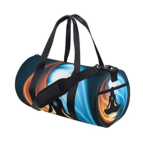 Yin Yang - Borsone da viaggio per uomini e donne, colore: Rosso e blu