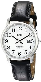 Timex Men s T2H281 Easy Reader 35mm Black Leather Strap Watch