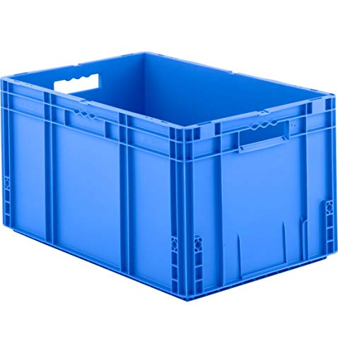 SSI Schäfer MF 6320 Eurokiste Kunststoffbox Transportbox offen ohne Deckel, 600x400 mm, 62,3 l, 30 Kg Tragkraft, Made in Germany, Blau