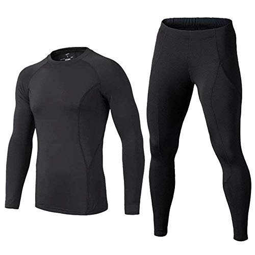 BUYKUD Kids' Boys Long Sleeve Athletic Base Layer Compression Underwear Shirt & Tights Set Black