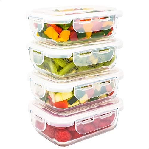 LG Luxury & Grace Set 4 Contenitori in Vetro 360 ml. Contenitori Ermetici per Alimenti e Sicuri per Microonde, Forno, Lavastoviglie e Congelatore. Senza BPA.
