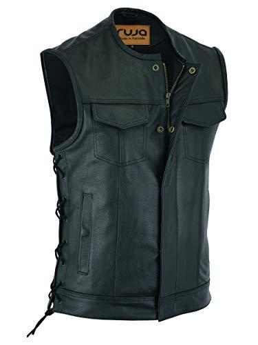 Ruja Gilet da uomo in vera pelle stile SOA con tasche per pistola (con lacci laterali) (XL)