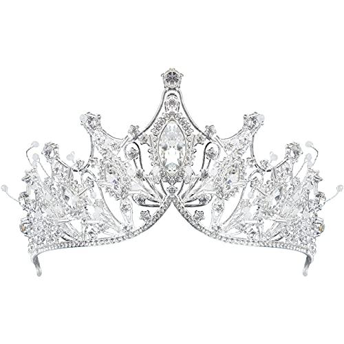 Lurrose Corona de Cristal Elegante Corona de Novia Tiara de Princesa de...