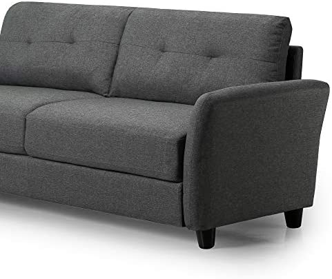 Best Zinus Ricardo Contemporary Upholstered 78.4 inch Sofa / Living Room Couch, Dark Grey