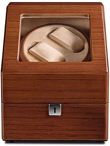 PLMOKN DFJU Winder Winder de Watchautomatic Winder Winder Flannel Caja de Almacenamiento de Franela Caja de Reloj de Madera Hecha a Mano 4 Función de Temporizador de modrotación