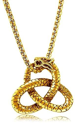 PPQKKYD Collar Rock Nudo concéntrico Celta Seina Teithres Seinad Syndergies Seinades Joyas para Hombres en Oro.