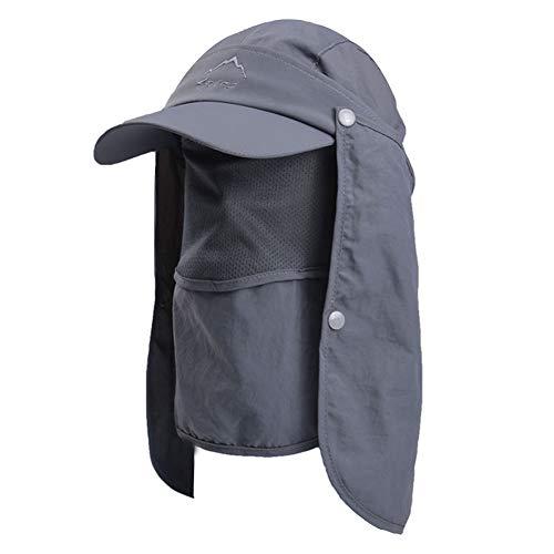 Lazzon Uomo Cappello da Sole Protezione UV Collo Coperchio Pescatore Cappellino Asciugatura Rapida Grande Tesa di attività all'Aria Aperta Ciclisti Pesca