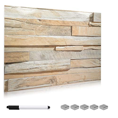 Navaris Magnettafel Memoboard aus Glas - Magnetwand 90x60 cm zum Beschriften - Magnetische Tafel inkl. Magnete Stift Halterung - Stone Wall Design