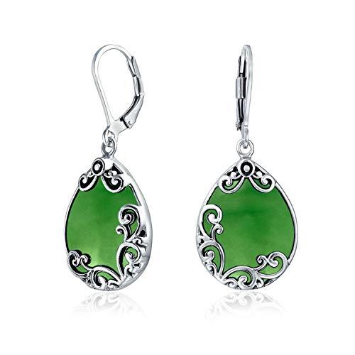 Bali Stil Träne Blättern Verzierten Filigranen Blättern Gefärbt Jade Baumeln Ohrringe Für Damen Sterling Silber
