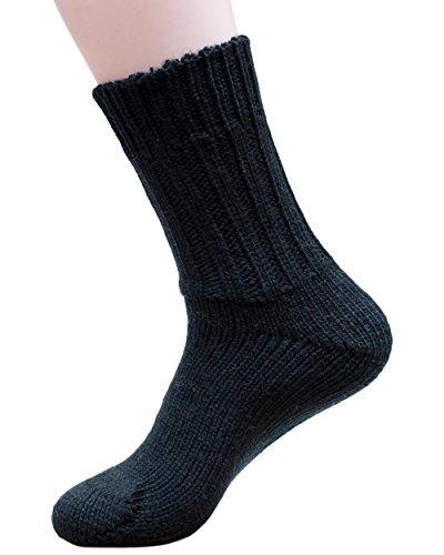 Hirsch Natur Socken, 100prozent reine Wolle, Grobstrick-Knöchelschutz mit Gewichtung, 191, Schwarz, 191 UK 8/9 / EU 42/43