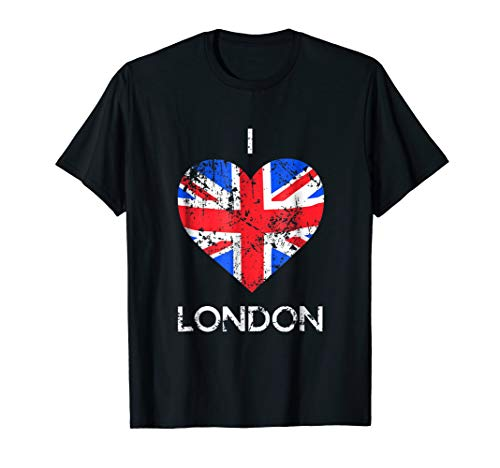 I Love London T-shirt Distressed Union Jack heart Tee