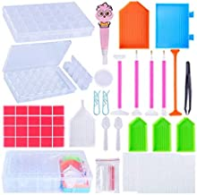 62 Pieces 5D Diamond Cross Stitch Tools Full Kit Including Diamond Stitch Pen, LED Diamond Painting Pen, Tweezers, Glue, P...