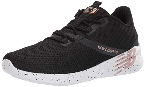 New Balance Women's District Run V1 CUSH + Sneaker, Black, 6 M US