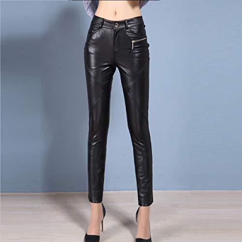 IHCIAIX Damen Lederhose,Skinny Leather Pants, Damen Spring Autumn Eng anliegende Lederhose, Slim Leggings Pants of Boots, Schwarz, XXXL