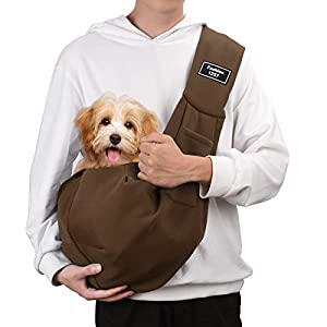 PERSUPER Pet Sling Carrier Wide Shoulder Strap Dog Sling Carrier for Small Dogs Puppy Cat Rabbit Outdoor Travel Soft Pouch Hand-Free(Coffee)