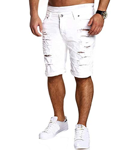 Minetom Sommer Herren Mode Casual Biker Jeans Hose Straight Slim Fit Destroyed Zerrissen Shorts mit Taschen Freizeithosen Weiß EU S