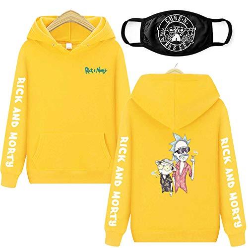 Sudadera con capucha con impresión 3D, Rick And Morty, de manga larga, con capucha, para hombre y mujer, color amarillo, talla L