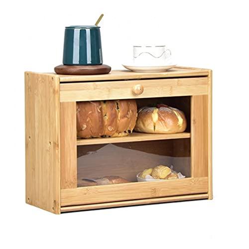 Caja de pan de bambú de doble capa para almacenamiento de pan de cocina, gran capacidad, con ventana frontal transparente para encimera de cocina