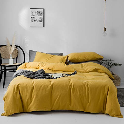 VM VOUGEMARKET Duvet Cover Queen,100% Washed Cotton 3pcs Bedding Duvet Cover Set,Solid Color Soft and Breathable with Zipper Closure & Corner Ties(Mustard Yellow,Queen