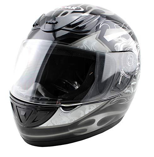 Soar Rookie - Casco de moto, color plateado/negro, talla S (55-56 cm)