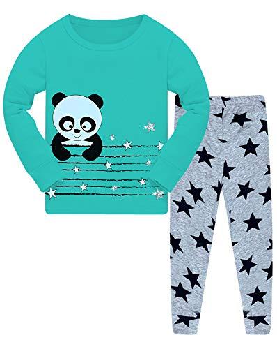 Mädchen Pyjama Set Panda Stern Schlafanzug 92-122 (104-110 (5-6 Jahre),Modell 7 Aqua