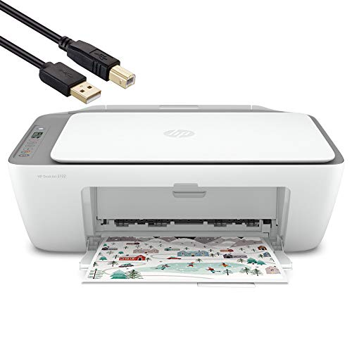 HP DeskJet 2000 Series All-in-One Color Inkjet Printer - 3-in-1 Print Scan and Copy for Home Business Office, Up to 1200 dpi, Dual-Band Wi-Fi, Bluetooth, Icon LCD display, BROAGE 4FT USB Printer Cable