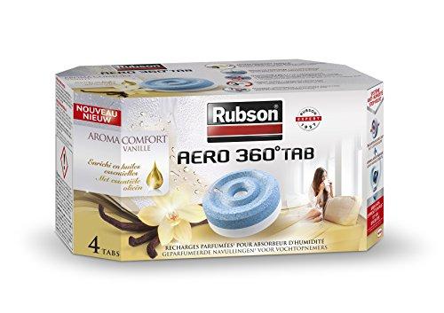 Rubson 2093428 3178041318990 parfumée pour absorbeur d'humidité Aero 360° -Aroma Comfort Vanille-4 Recharges, Gris